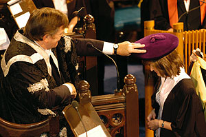 Student being 'capped' at graduation