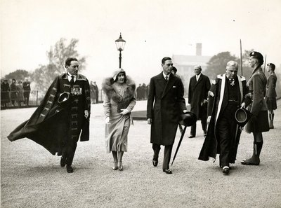 Compton Mackenzie, the Duke and Duchess of York and Principal Rait