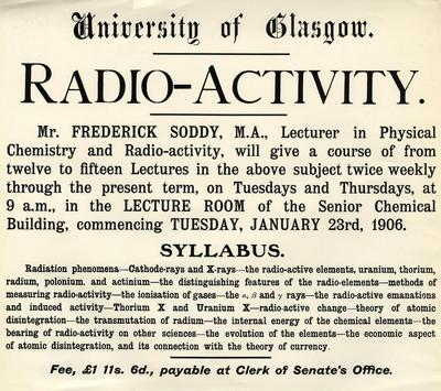 Frederick Soddy lecture advertisement, 1906