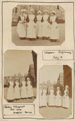 Many women students chose to serve by giving service in hospitals.  This image from July 1915 features the Queen Margaret Part Time Hospital Service at the Western Infirmary