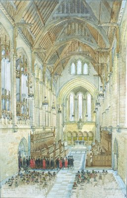 Watercolour of Burnet's original vision for the Memorial Chapel