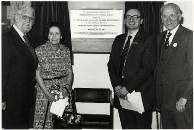 Malcolm Ferguson-Smith at the opening of the Duncan Guthrie Institute, 1981