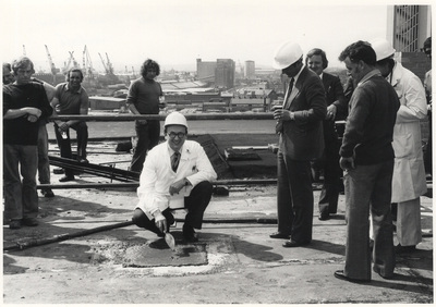 Malcolm Ferguson-Smith at the topping out ceremony for the Duncan Guthrie Institute, 1978