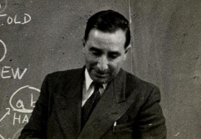 Guido Pontecorvo delivering the Jesup Lecture at Columbia, April 1956