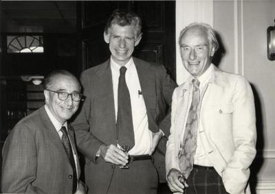 Guido Pontecorvo with Frank Ruddle and Francis Crick, June 1978