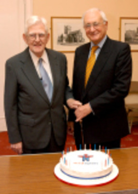 Victor Hawthorne (left) at the celebrations for 30 years of MIDSPAN, 2005