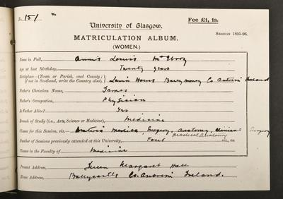 Anne Louise McIlroy's matriculation record, 1895