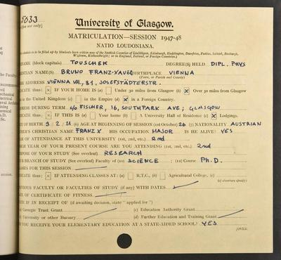 Bruno Touschek's matriculation record page 1, 1947