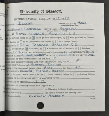 Donald Dewar's matriculation record page 1, 1957