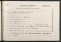 Ethel Currie's matriculation record, 1916