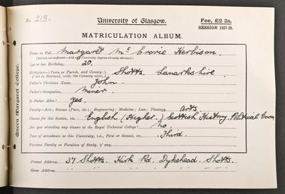 Peggy Herbison's matriculation record, 1927
