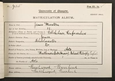 James Maxton's matriculation record, 1904