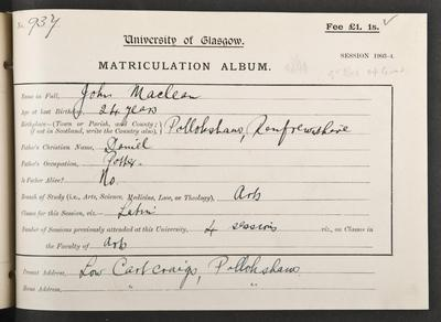 John Maclean's matriculation record, 1903