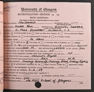 Neil MacCormick's matriculation record page 1, 1959