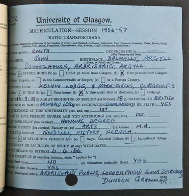 John Smith's matriculation record page 1, 1956