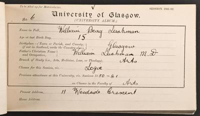 William Leishman's matriculation record, 1881