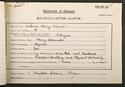 OH Mavor's matriculation record, 1904