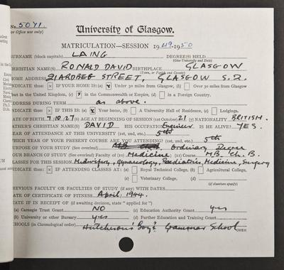 RD Laing's matriculation record page 1, 1949