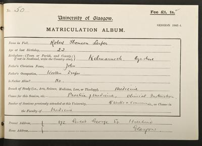 Robert Leiper's matriculation record, 1903