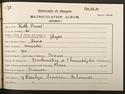 Ruth Pirret's matriculation record, 1895