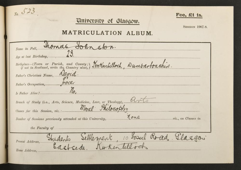Tom Johnston's matriculation record, 1907
