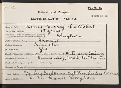 Thomas MacRobert's matriculation record, 1901