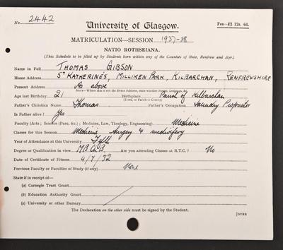 Tom Gibson's matriculation record page 1, 1937