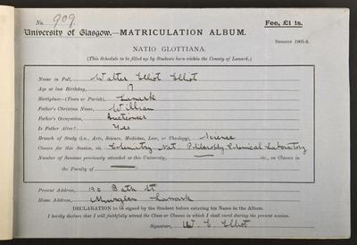 Walter Elliot's matriculation record, 1905