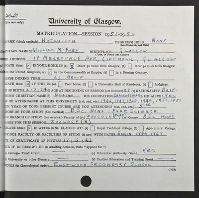 Bill Hutchison's matriculation record page 1, 1951