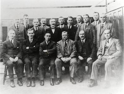 Archibald Barr, (seated, second right) and his staff at Anniesland c1920