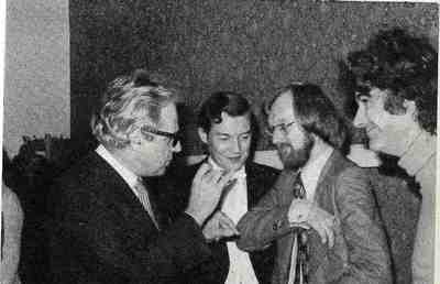 Alexander Gibson (second left), with Gyorgy Ligeti, Martin Dalby and Peter Maxwell Davies at Musica Nova organised jointly by the University and the Scottish National Orchestra, 1973
