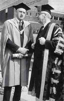 Philip Dee and Sam Curran on the occasion of Dee receiving his honorary degree at Strathclyde University, 1980