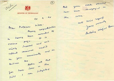 Robert Silver's letter of congratulation from Tony Benn