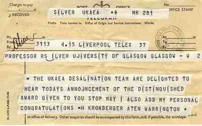 Robert Silver's telegram of congratulations from the UKAEA