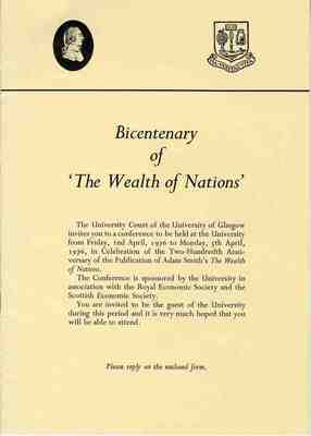 Invitation to the Bicentenary of the Wealth of Nations Conference, 1976