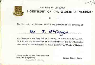 Invitation to the Bicentenary of the Wealth of Nations Banquet, 1976