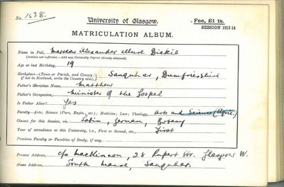 Matthew Alexander Mure Dickie's matriculation record 1913-14