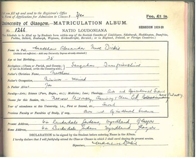 Matthew Alexander Mure Dickie's matriculation record 1919-20