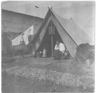Dr Keer in her tent in Salonica