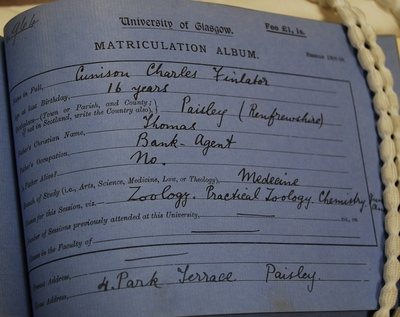 Cunison Charles Finlator first matriculation 1898-99