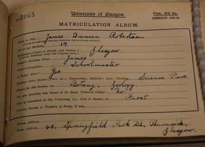 James Duncan Robertson matriculation 1929-30