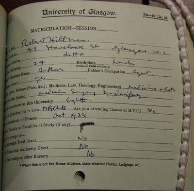 Robert Hillman's matriculation slip