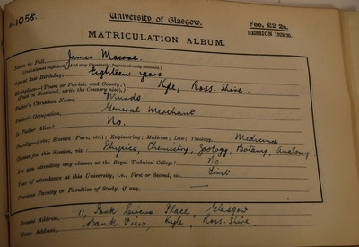 James Macrae's first Matriculation Slip