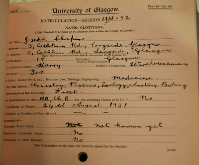 Joseph Shapiro's First Matriculation Slip