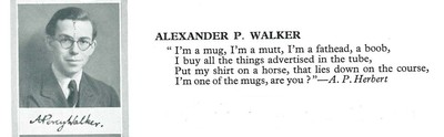 Alexander Percy Walker and quote in Final Year Dinner Book