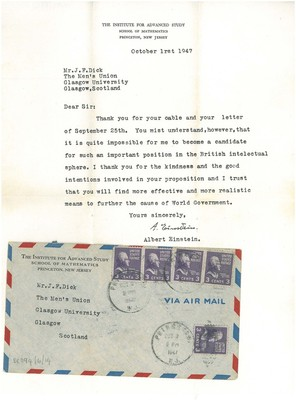 Letter from Einstein to a Mr. J. F. Dick at the GU Men's Union