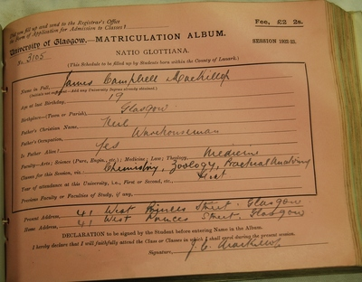 James MacKillop's first matriculation slip