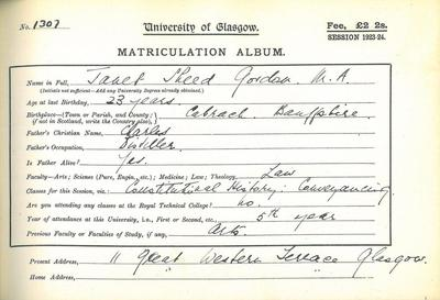 Janet's Matriculation record