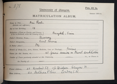 Poot, Matriculation 1910-11