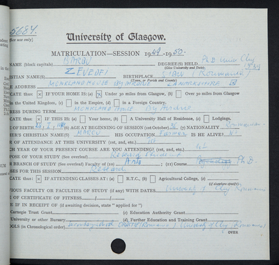 Zevedei Barbu, Matriculation Slip 1949-50